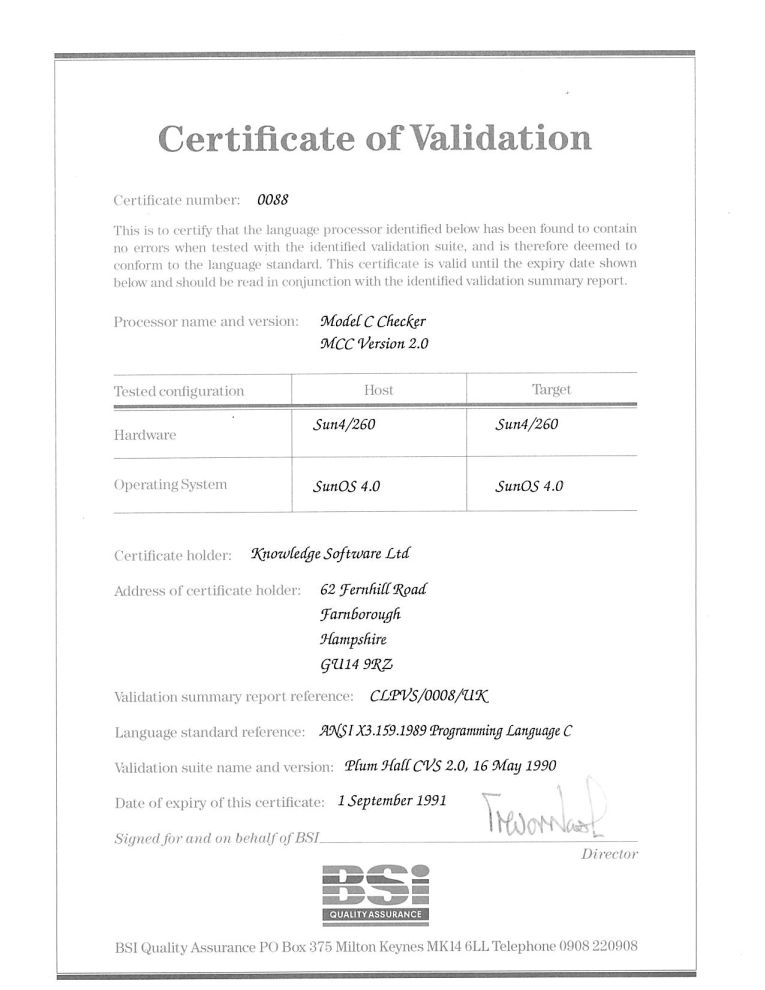 Model Implementation C validation certificate.